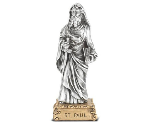 "4 1/2"" St. Paul Pewter Statue on Base"