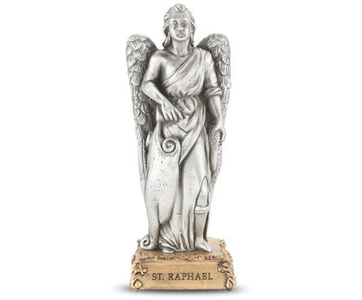 "4 1/2"" St. Raphael Pewter Statue on Base"