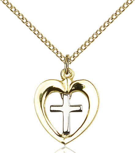 Image of Two-Tone SS/GF Heart / Chalice Pendant