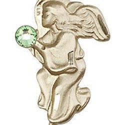 Peridot Bead Guardian Angel 14 Karat Gold Filled Pendant