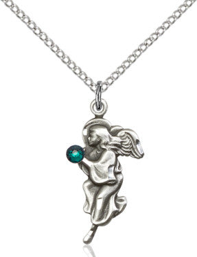 Emerald Bead Guardian Angel Pendant (Sterling Silver)