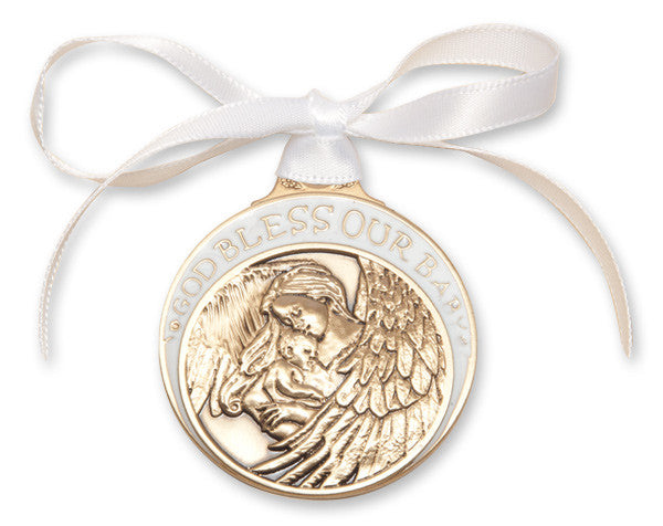 Image of Gold Oxide - Baby w/Angel Crib Medal with White Ribbon