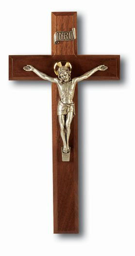 "11"" Walnut Cross with Antique Silver Corpus"