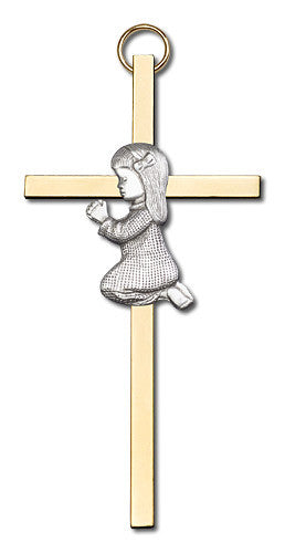 Image of 4 inch Antique Silver Praying Girl on a Polished Brass Cross