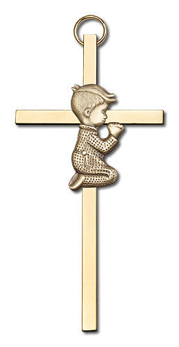 Image of 4 inch Antique Gold Praying Boy on a Polished Brass Cross