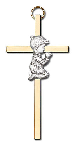 Image of 4 inch Antique Silver Praying Boy on a Polished Brass Cross