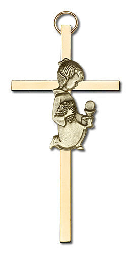 Image of 4 inch Antique Gold Communion Girl on a Polished Brass Cross