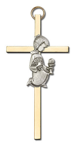 Image of 4 inch Antique Silver Communion Girl on a Polished Brass Cross