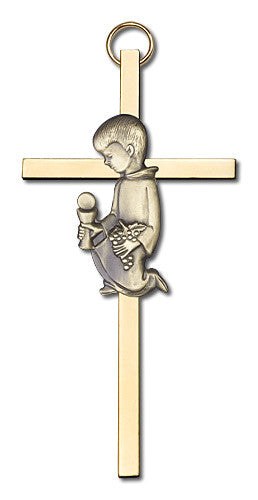 Image of 4 inch Antique Gold Communion Boy on a Polished Brass Cross