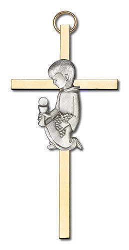 Image of 4 inch Antique Silver Communion Boy on a Polished Brass Cross