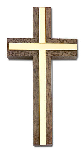 Image of 4 inch Plain Crucifix Walnut w/ Antique Gold inlay