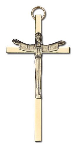 Image of 4 inch Antique Gold Risen Christ on a Polished Brass Cross
