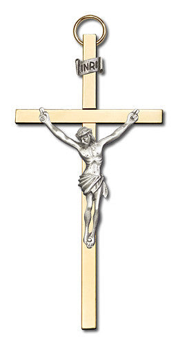 Image of 4 inch Antique Silver Crucifix on a Polished Brass Cross