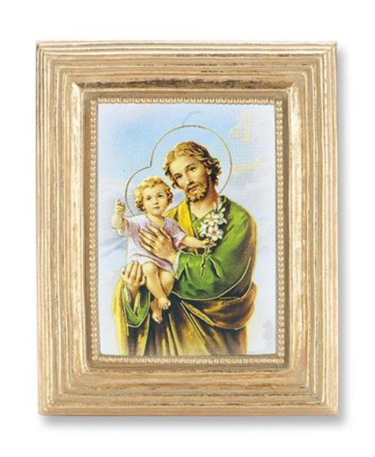 St Joseph Gold Stamped Print in Gold Frame