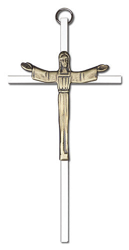 Image of 6 inch Antique Gold Risen Christ on a Polished Silver Finish Cross
