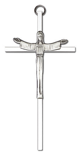Image of 6 inch Antique Silver Risen Christ on a Polished Silver Finish Cross