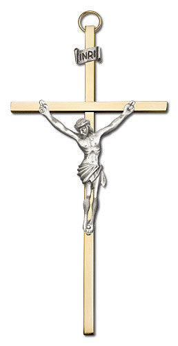Image of 6 inch Antique Silver Crucifix on a Polished Brass Cross
