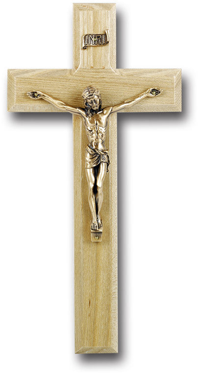 "10"" Oak Wood Cross with Crucifix"