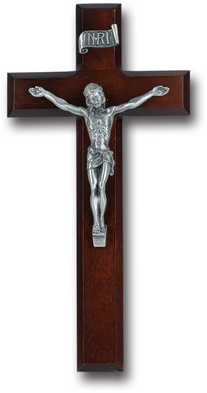 "10"" Walnut Dark Cherry Wood Cross"