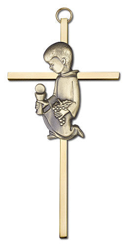 Image of 6 inch Antique Gold Communion Boy on a Polished Brass Cross