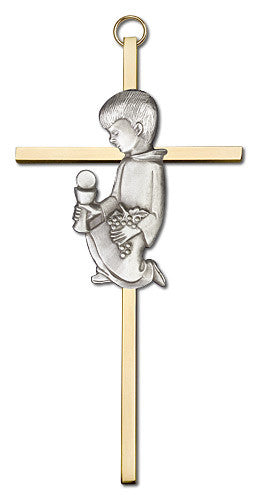 Image of 6 inch Antique Silver Communion Boy on a Polished Brass Cross