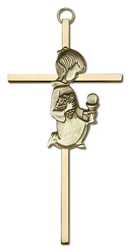 Image of 6 inch Antique Gold Communion Girl on a Polished Brass Cross
