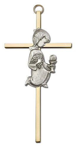 Image of 6 inch Antique Silver Communion Girl on a Polished Brass Cross