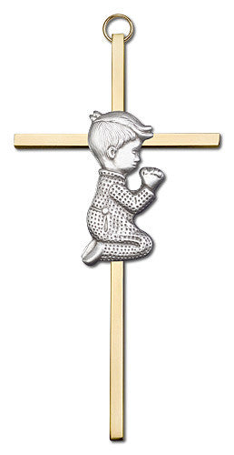 Image of 6 inch Antique Silver Praying Boy on a Polished Brass Cross