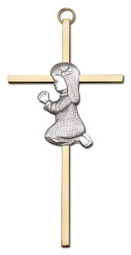 Image of 6 inch Antique Silver Praying Girl on a Polished Brass Cross
