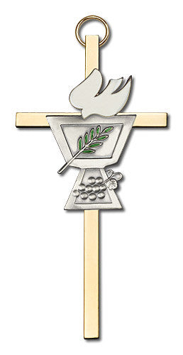 Image of 4 inch Antique Silver Confirmation Chalice on a Polished Brass Cross