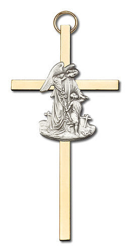 Image of 4 inch Antique Silver Guardian Angel on a Polished Brass Cross