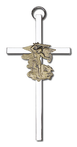 Image of 4 inch Antique Gold St. Michael on a Polished Silver Finish Cross
