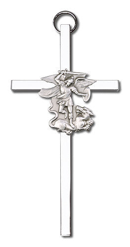 Image of 4 inch Antique Silver St. Michael on a Polished Silver Finish Cross