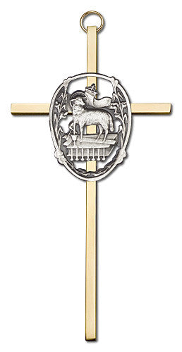 Image of 6 inch Antique Silver Lamb of God on a Polished Brass Cross