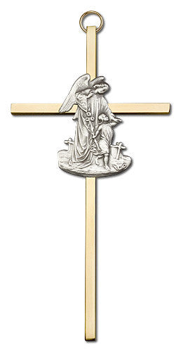 Image of 6 inch Antique Silver Guardian Angel on a Polished Brass Cross