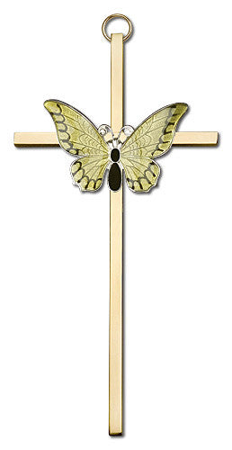 Image of 6 inch Polished Silver Finish Yellow Epoxy Resurrection on a Polished Brass Cross