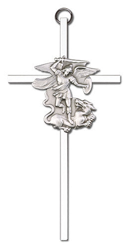 Image of 6 inch Antique Silver St. Michael on a Polished Silver Finish Cross
