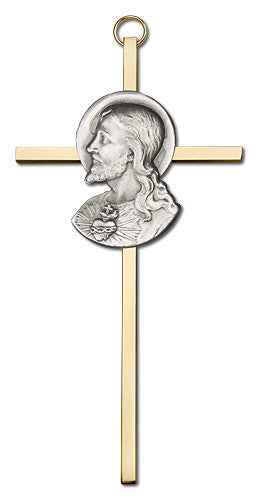 Image of 6 inch Antique Silver Sacred Heart on a Polished Brass Cross