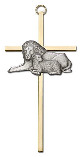 Image of 6 inch Antique Silver Lion & Lamb on a Polished Brass Cross