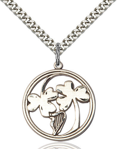 irish_shamrock_harp_pendant