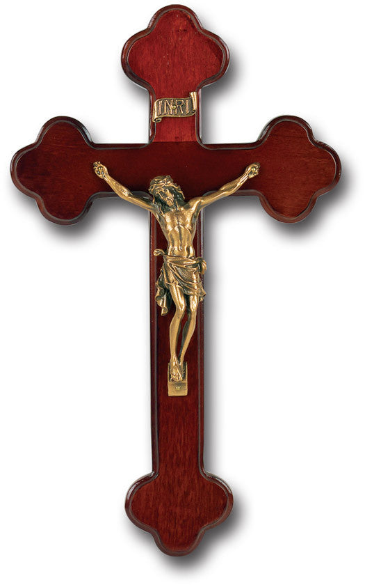 "10"" Budded Dark Cherry Wood Cross"