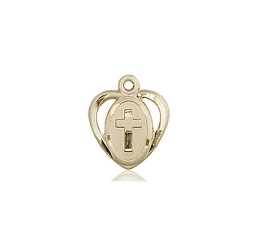 Image of Heart / Cross Medal (14kt Gold)