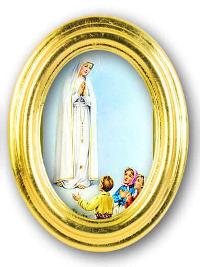Our Lady Of Fatima Oval Gold Leaf Frame