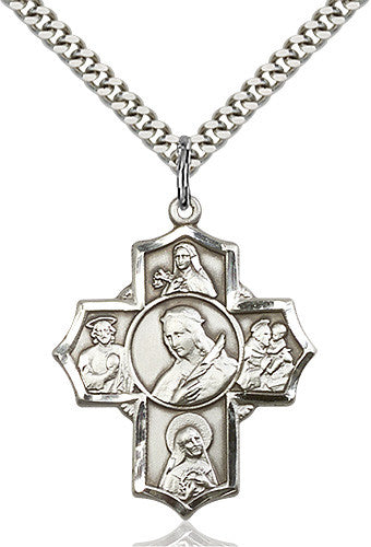 5-Way Saint Philomena/Theresa/Rita/Antony/Jude Pendant (Sterling Silver)