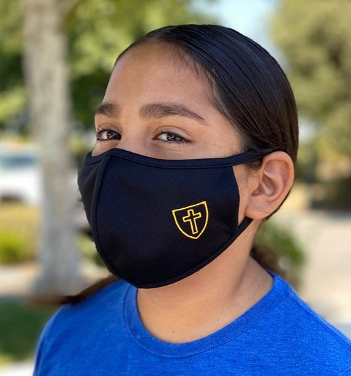 Kids Face Mask with Cross logo in black