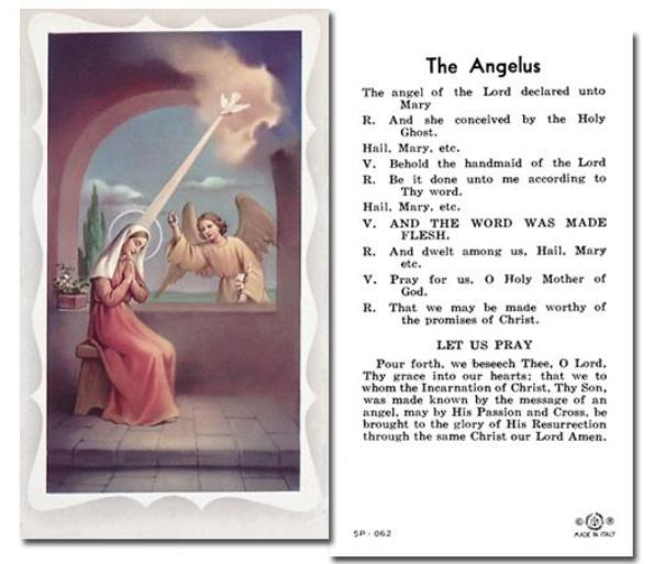 The Angelus Holy Card Free Ship 49 Catholic Online