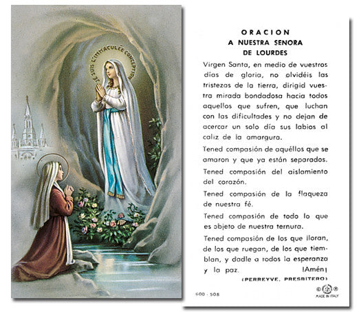Image of ORACION A N.S. DE LOURDES HOLY