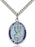 Image of St. Christopher Blue Border Pendan (Sterling Silver)