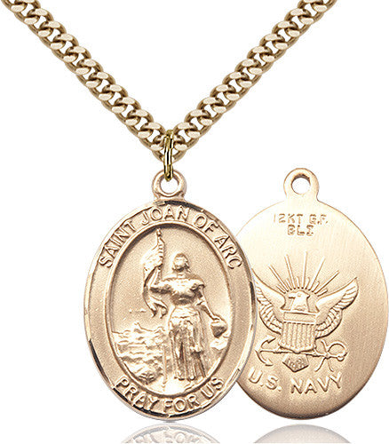Image of St. Joan Of Arc / Navy Pendant (Gold Filled)