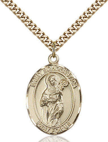 Image of St. Scholastica Pendant (Gold Filled)